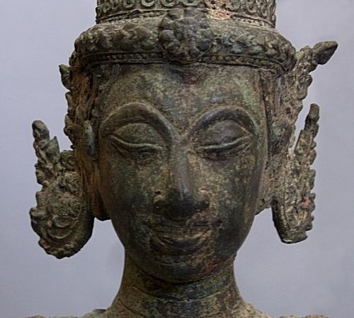 18-19cチャクリー様式(ロイヤル・アティテュード)青銅製仏神像 聖牛ナンディに乗る十臂神像 仏教寺院旧蔵・貴重マスターピース