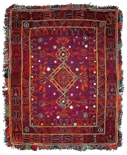 アフガニスタン・ガズニー パシュトゥーン系遊牧民 貴重な20c前期の婚礼用・刺繍掛け布 撚銀糸&無数のグラスビーズ 稀少完美品