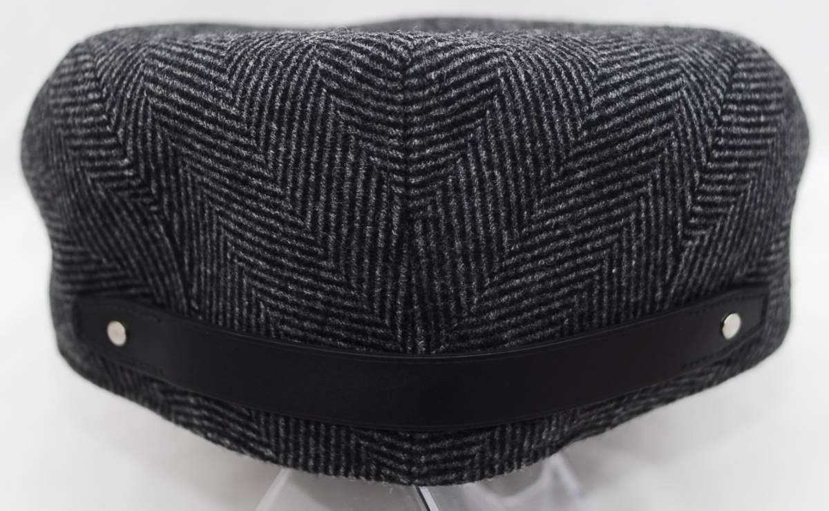 HERMES エルメス ハンチング帽 リネン カシミア グレー ツイード 60_画像4