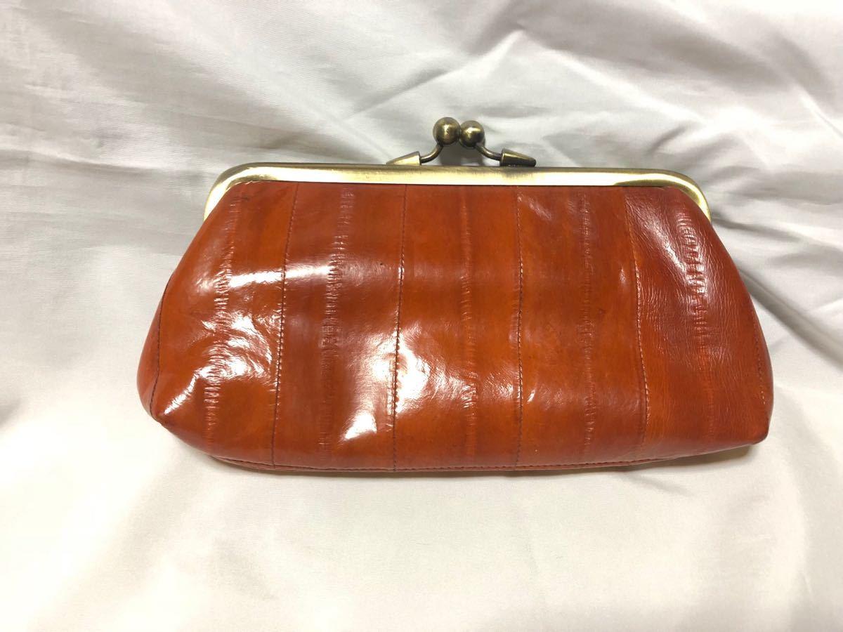 155163847f9a 代購代標第一品牌- 樂淘letao - 本物美品うなぎ革イールスキンがま口財布ウォレット鰻