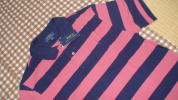 * tag equipped * Ralph Lauren polo-shirt with short sleeves XL 170 centimeter stripe