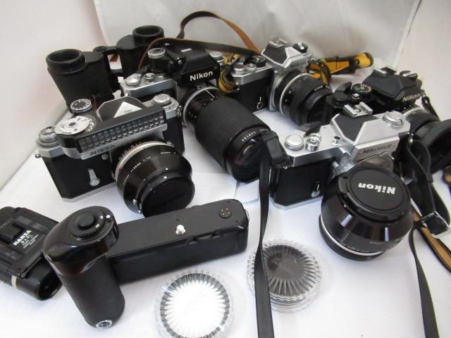 544☆ニコン ジャンクセット FM NIKKOR 50mm 1.8/FT2 Nikomat/50mm 1.4/F NIKKOR S AUTO 1.4 50mm/MD-12/FM 35mm 1:2/F2 35-135mm 3.5-4.5