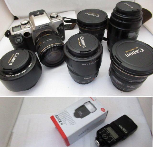 546☆キヤノン ジャンクセット EOS 55 EF 28-105mm 3.5-4.5/EF 50mm 1.4/EF 100mm 2.8/430EX II/EF 20-35mm 3.5-4.5 ULTRASONIC/28-105mm