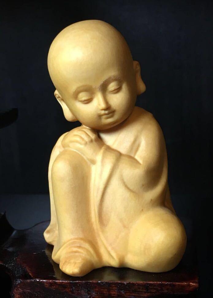 仏教美術 柘植 木彫り 木製 手のひらサイズ 癒し系 小僧 仏像 観音  置物 3点セット 木造台付き_画像5