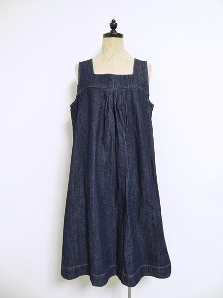 美品 無印良品 デニム ワンピース ジャンパースカート L インディゴ プルオーバー