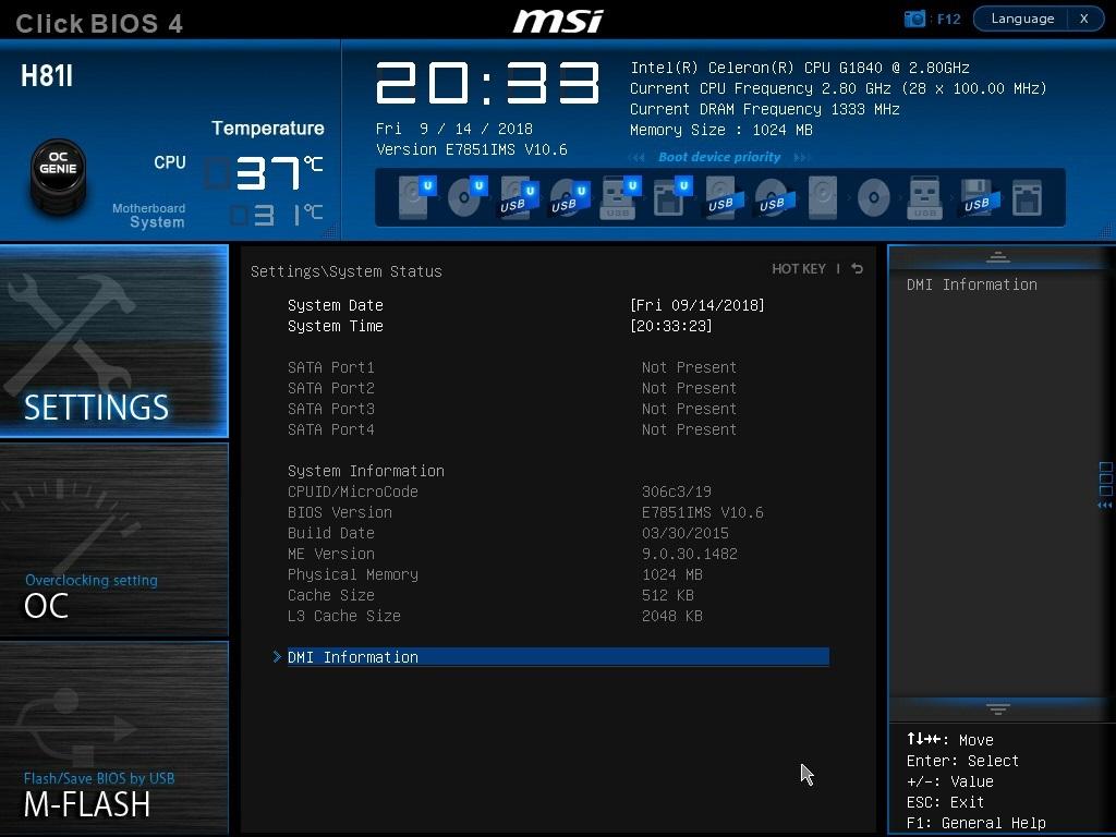 MSI Mini-ITXマザボード[H81I]+INTEL Celeron G1840 2.8GHz (LGA1150) 簡易動作確認済み中古品_画像6