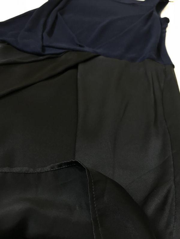 ★c134☆Clu クリュ ユナイテッドアローズ シルク&コットンニット切り替え ワンピース ネイビー 紺 ノースリーブ アシメトリーデザイン_画像6