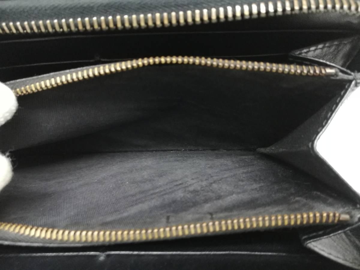 良品!ボッテガヴェネタ BOTTEGA VENETA イントレチャート ラウンドファスナー 長財布 ブラック レザー _画像7