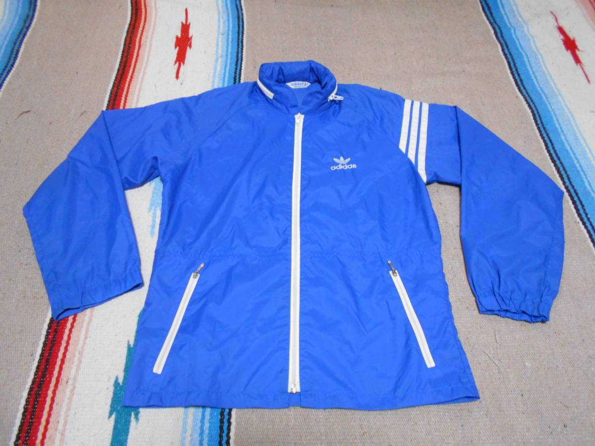 1970年代製 アディダスADIDAS ウィンドブレイカー 青ブルー ビンテージ オリジナル MADE IN JAPAN VINTAGE オールドスクール昭和レトロ_画像1