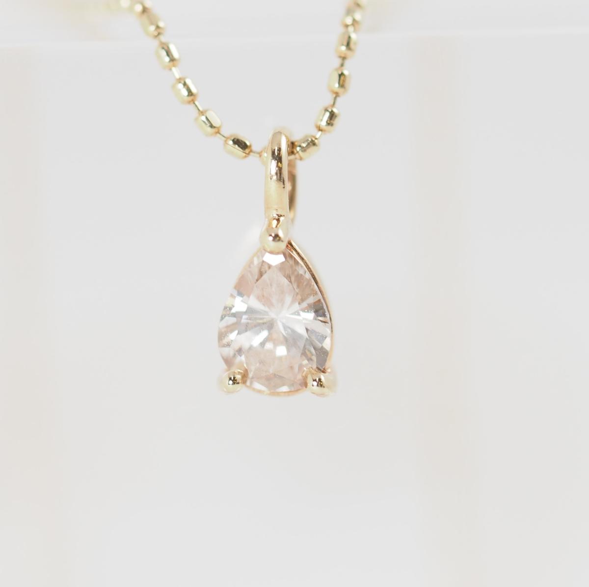 agete アガット ペアシェイプ ダイヤモンド0.21ct K10YG ネックレス [17754]_画像1