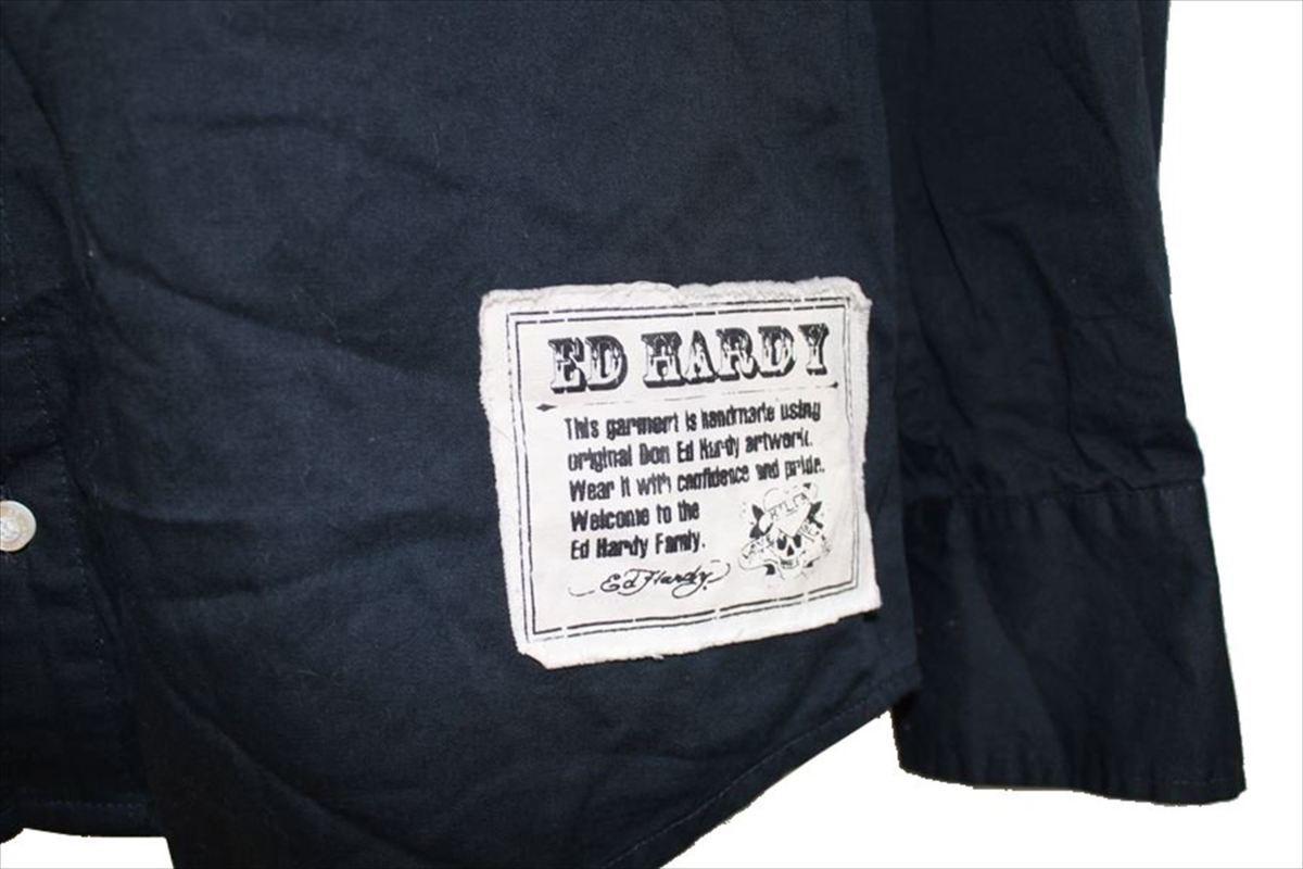 エドハーディー ED HARDY メンズ長袖コットンシャツ ネイビー Lサイズ 新品_画像3