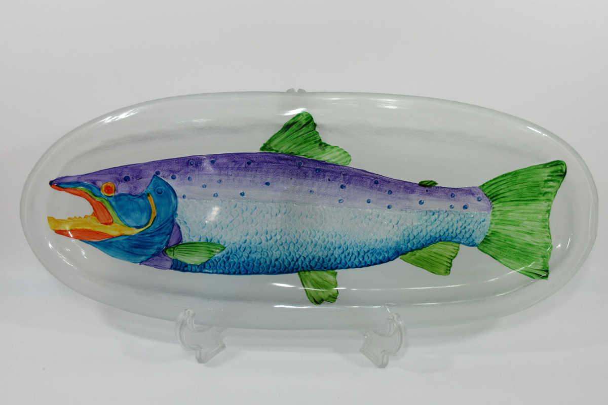 ■未使用品 53.5cm R&D ITALIAN DESIGN 魚柄 プレート 大皿 ガラス製 b12