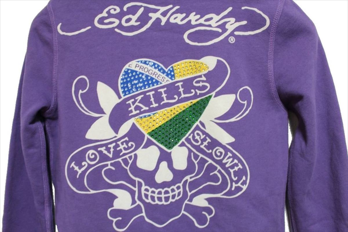 エドハーディー ED HARDY レディースフルジップパーカ パープルSサイズ 新品 LOVE KILLS SLOWLY_画像5