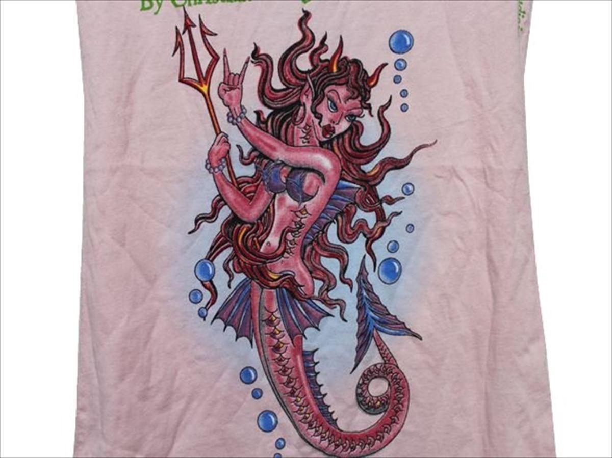 エドハーディー ED HARDY レディース半袖Tシャツ ピンク XSサイズ デビルマーメイド 新品_画像2