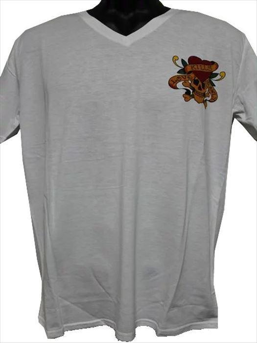 エドハーディー ED HARDY メンズ半袖Tシャツ ホワイト Lサイズ MV052 新品_画像1