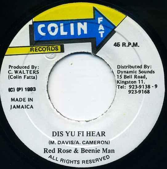 EP☆Red Rose / Beenie Man / Dis Yu Fi Hear/Colin Fat Records_2903-116