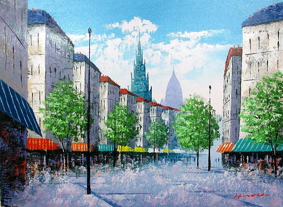 絵画 油彩 広瀬和之 パリの街角 油絵F4キャンパスのみ 送料無料_画像1