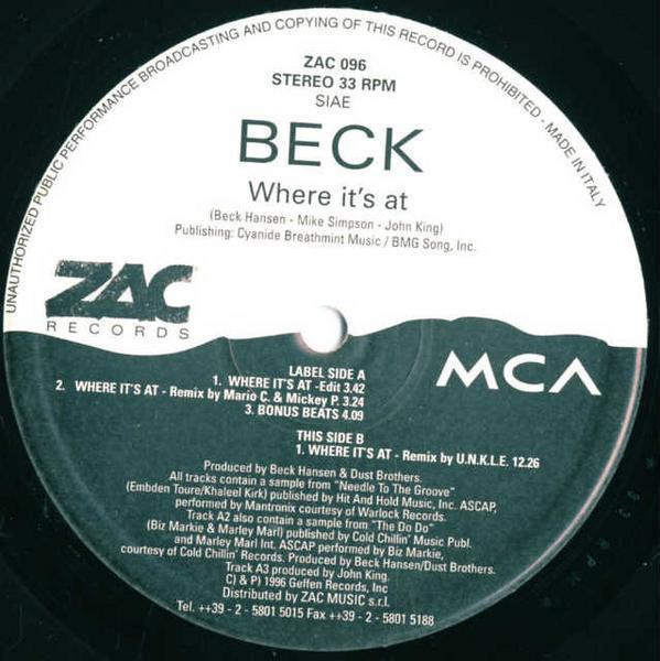 12inch / Beck / Where It's At / ZAC 096_画像2