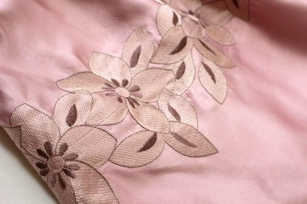 未使用 ◇ 上品 ベルト付き フラワー刺繍 ウエスト ツイスト フォーマル ノースリーブ ワンピース パーティ ドレス M 9号 ピンク ①_画像5
