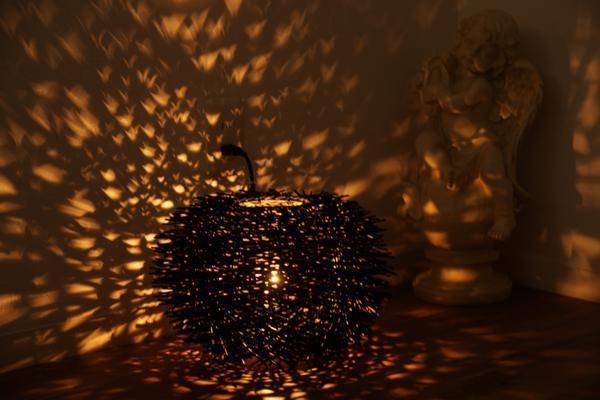 ◆新品◆ ラタン ラウンド ランプ 照明  アウトレットA9207_画像1