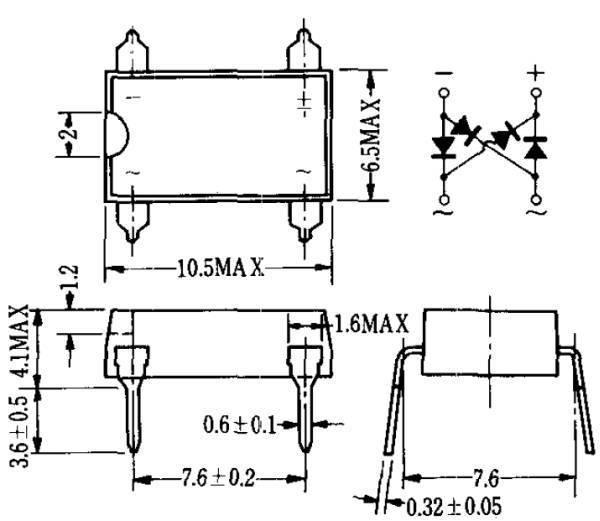 新電元 S1WB40 小型ブリッジダイオード (400V/1A) [10個組](c)_画像2