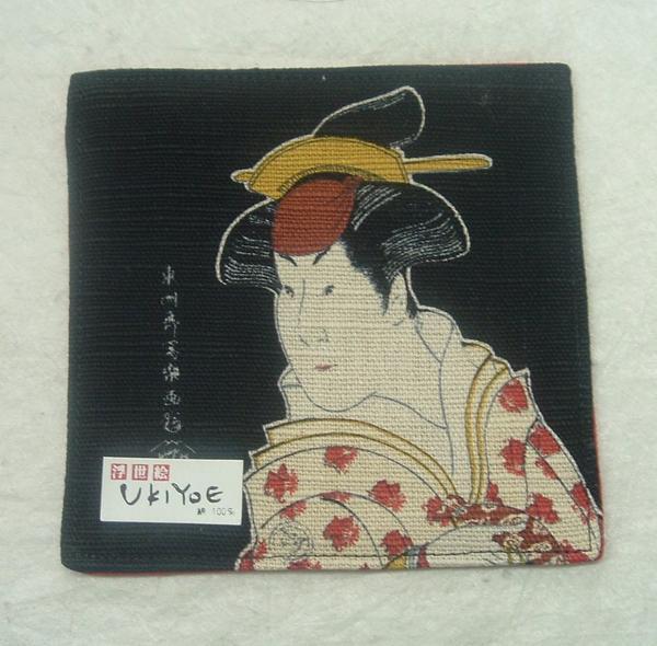 1127 綿 浮世絵 コースター「黒・東洲斎写楽」-_画像1