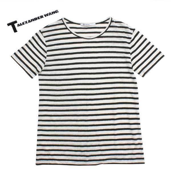 T by ALEXANDER WANG リネン シルク ニット カットソー sizeXS ブラック ホワイト ティー バイ アレキサンダーワン Tシャツ_画像1