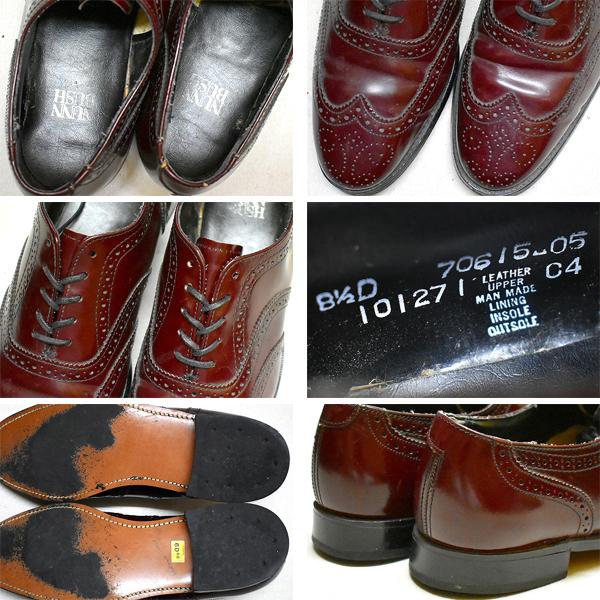 1点物◆ウィングチップOLDレザーシューズ革靴USA古着メンズ26.5アメカジ90sストリート/スポーツMixサドルシューズ色エンジ425625_画像2