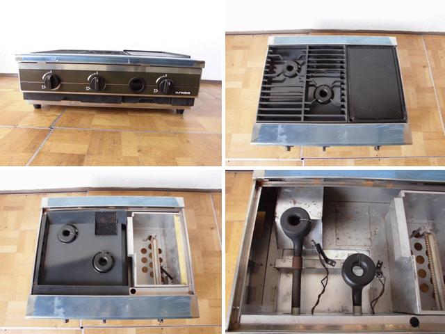 中古厨房 未使用品 サンウェーブ 卓上 2口コンロ+グリドル LPガス 圧電式 GK-75H W750×D600×H280mm 取説付 B 鉄板 プロパン_画像2