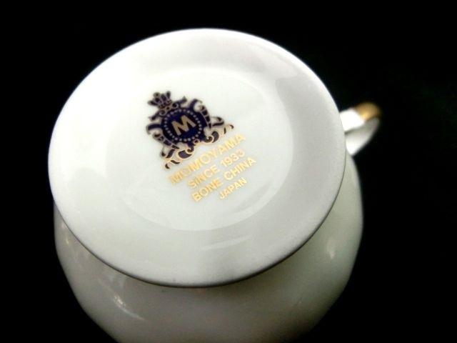 【桃山陶器】ペアカップ&ソーサー▲MOMOYAMA食器2客・ネイビーホワイト花柄_画像7