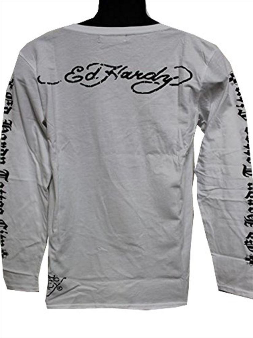 エドハーディー ED HARDY メンズ長袖Tシャツ ホワイト Mサイズ TC326 新品_画像3