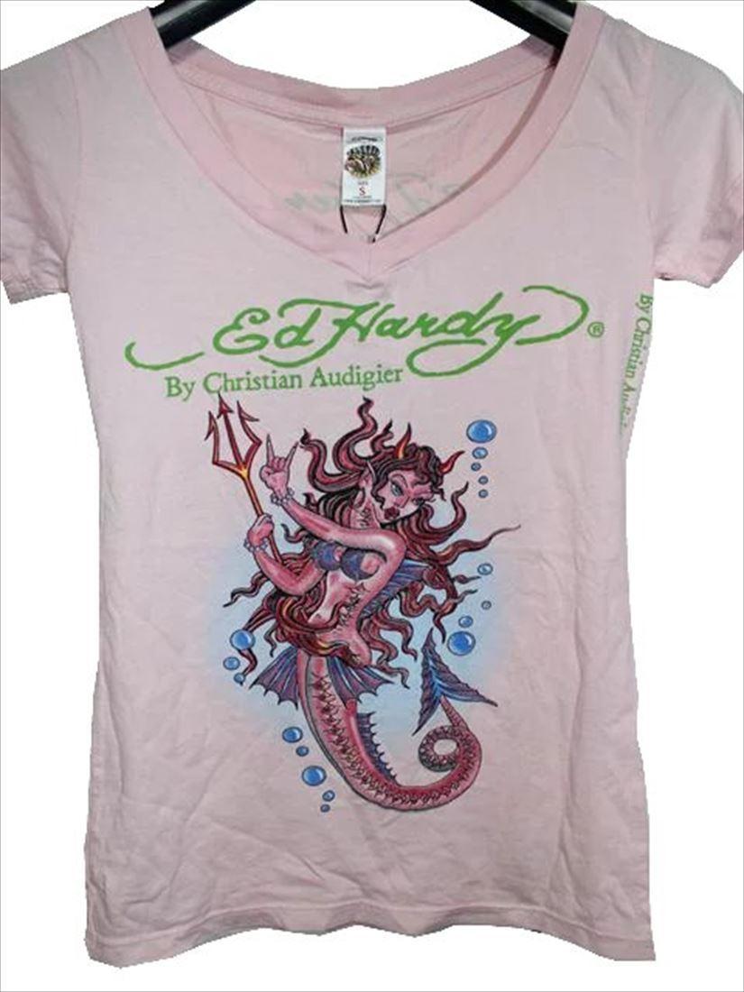 エドハーディー ED HARDY レディース半袖Tシャツ ピンク Sサイズ デビルマーメイド 新品_画像1