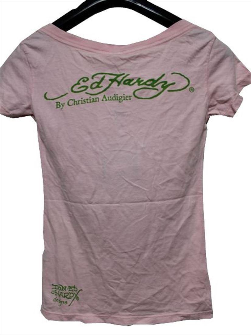 エドハーディー ED HARDY レディース半袖Tシャツ ピンク XSサイズ デビルマーメイド 新品_画像3