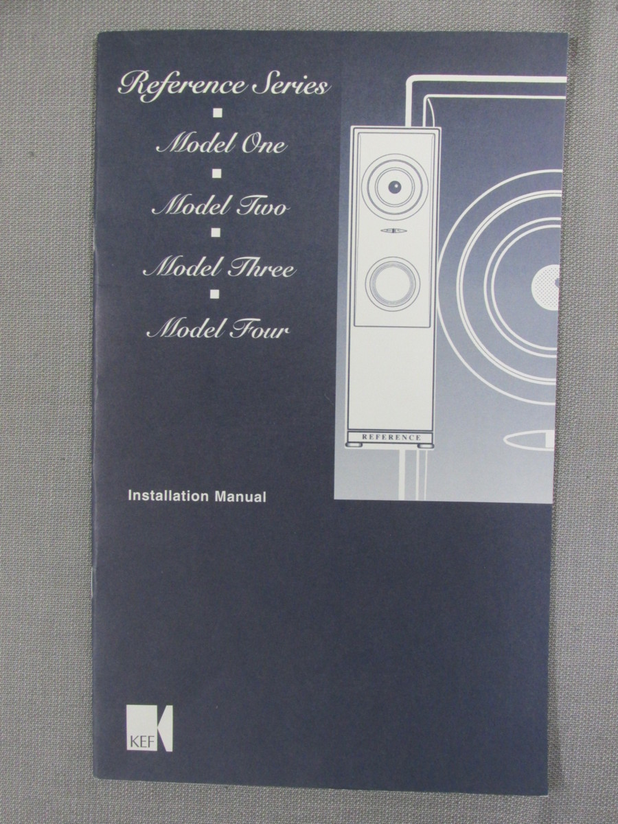 S0269【取扱説明書】KEF Reference Siries Model One/Model Two/Model Three/Model Four Installation Manual 英文他_画像1