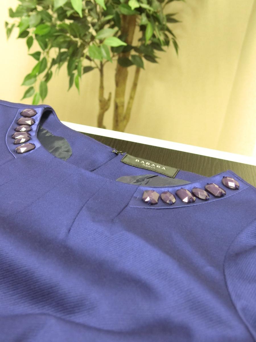 イタリア製 BABARA PARIS ビジュー ビーズ ベルト デザイン ワンピース 40 パープル 紫 レディース HR1809-231_画像9