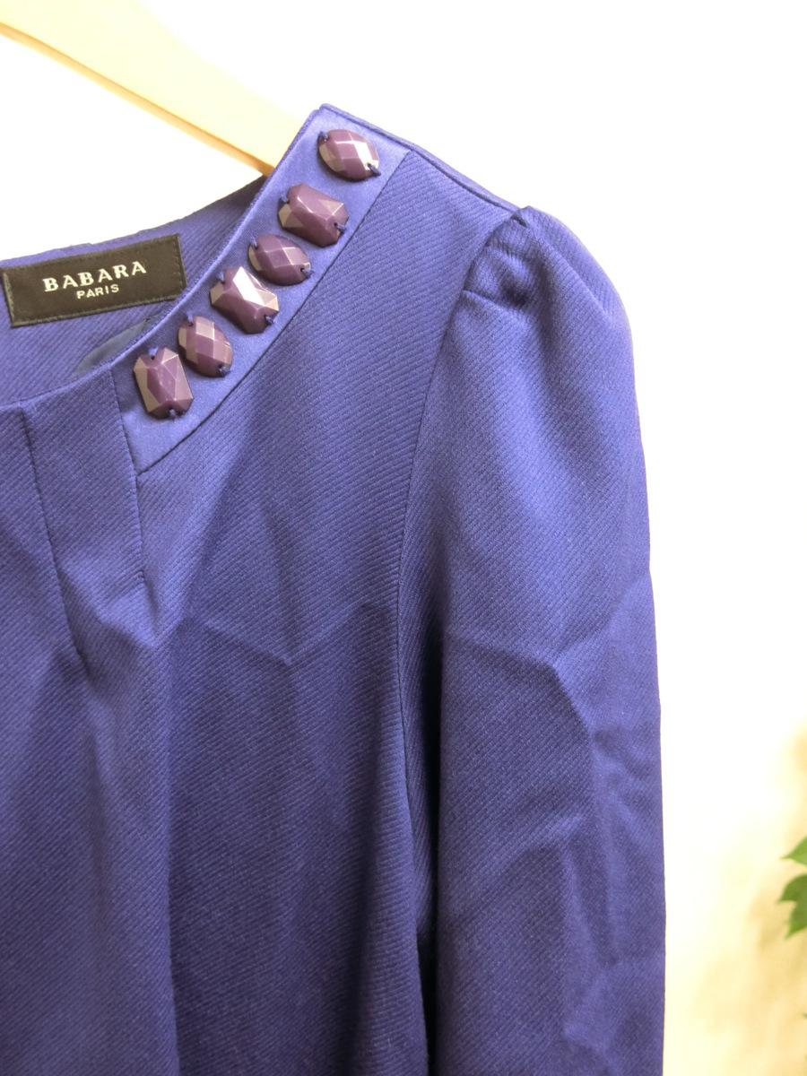 イタリア製 BABARA PARIS ビジュー ビーズ ベルト デザイン ワンピース 40 パープル 紫 レディース HR1809-231_画像3