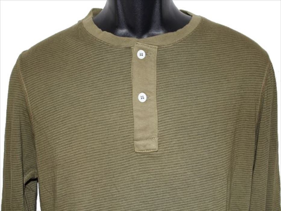ホゼル HOZELL メンズ長袖ヘンリーTシャツ グリーン Mサイズ 新品_画像2