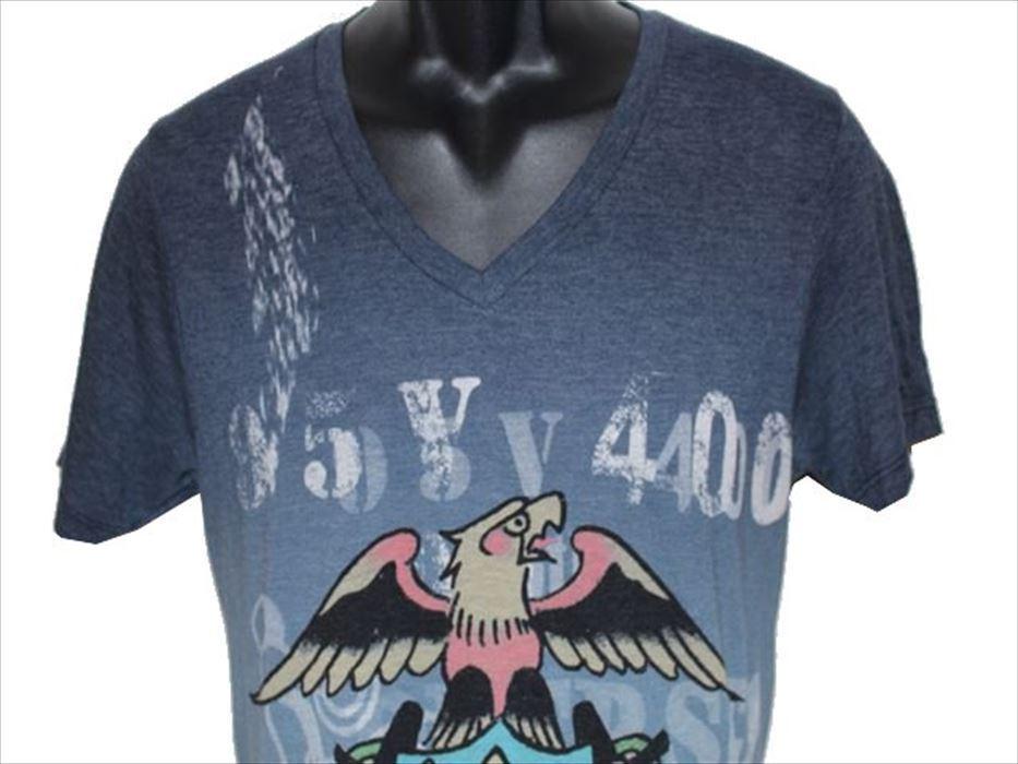 エドハーディー ED HARDY メンズ半袖Tシャツ Vネック ネイビー Sサイズ 新品_画像2