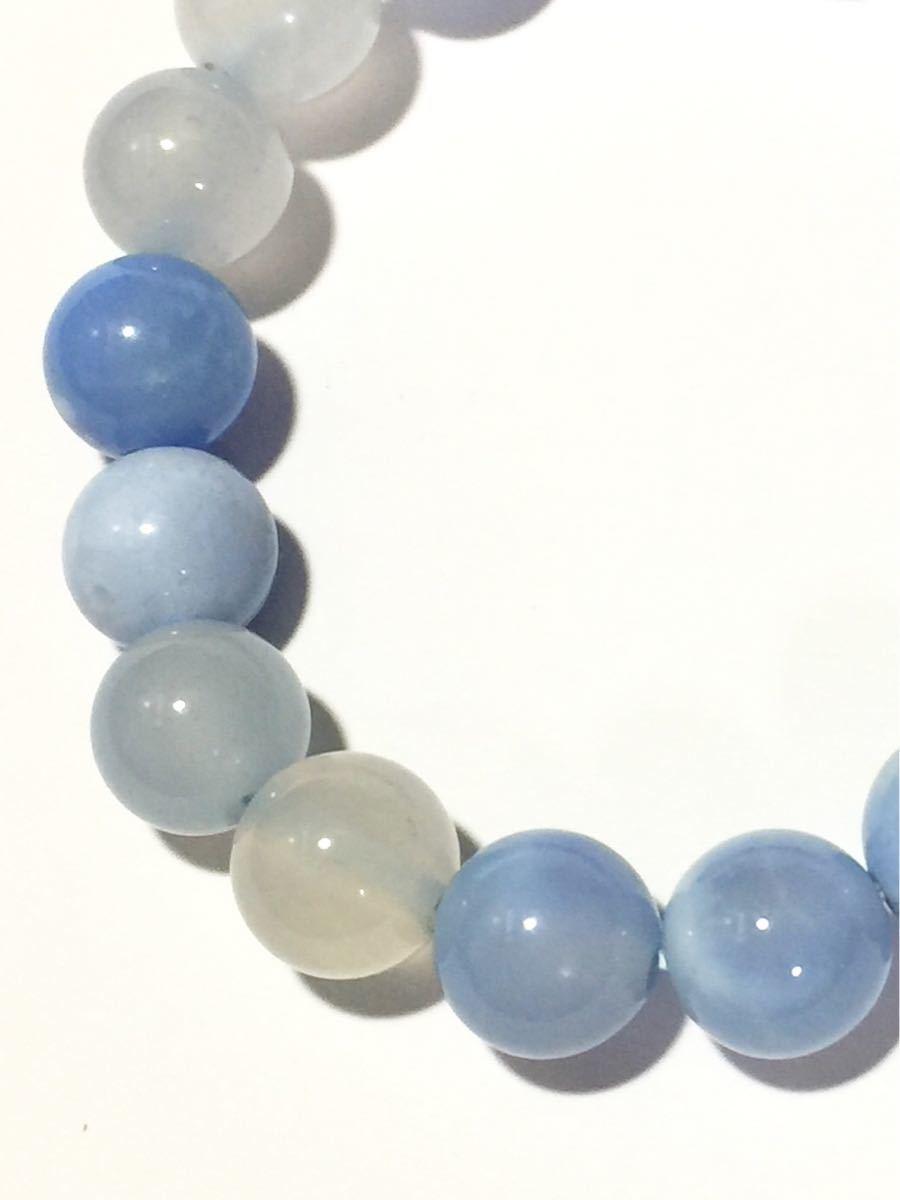 ♪即決 【壽】直径10.3mm天然最高AAA級極品大粒海藍瑪瑙ブレス_画像3