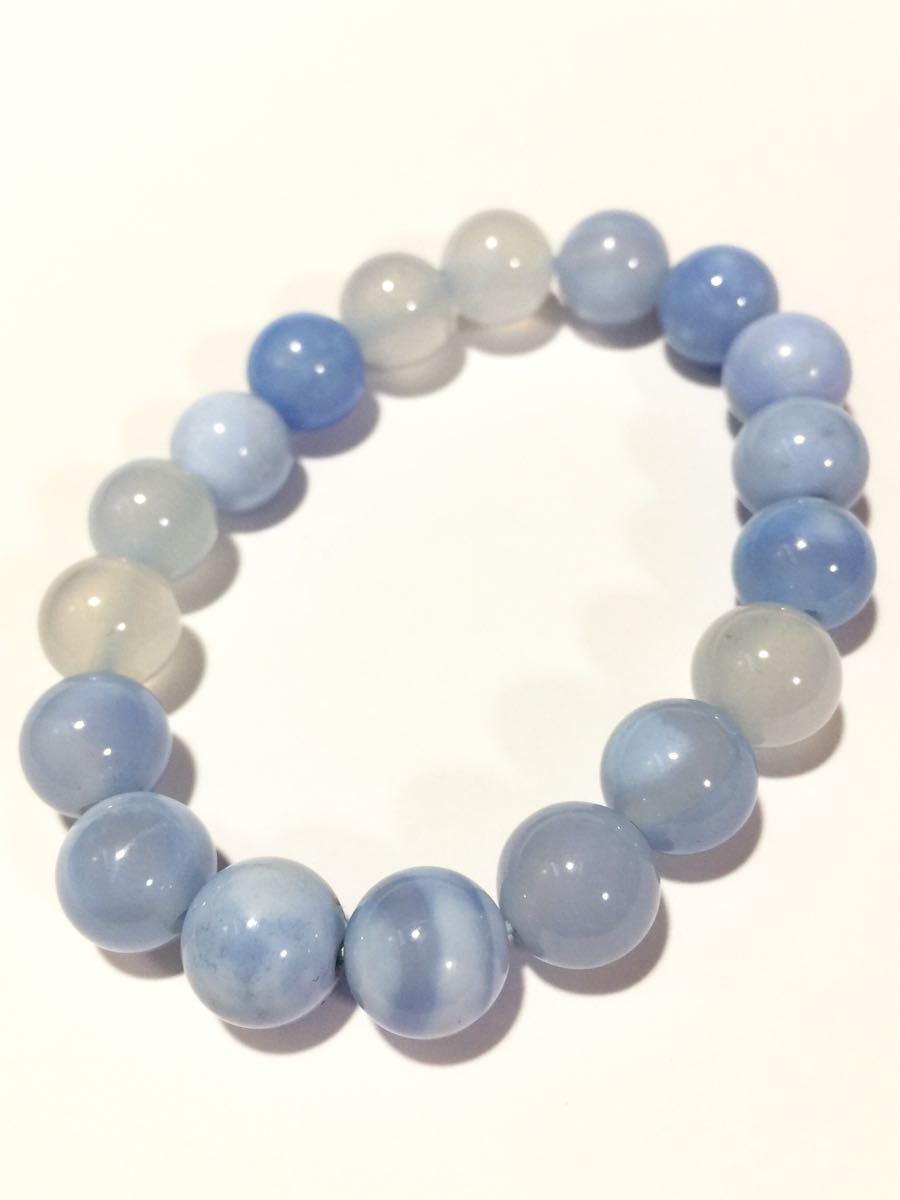 ♪即決 【壽】直径10.3mm天然最高AAA級極品大粒海藍瑪瑙ブレス_画像1