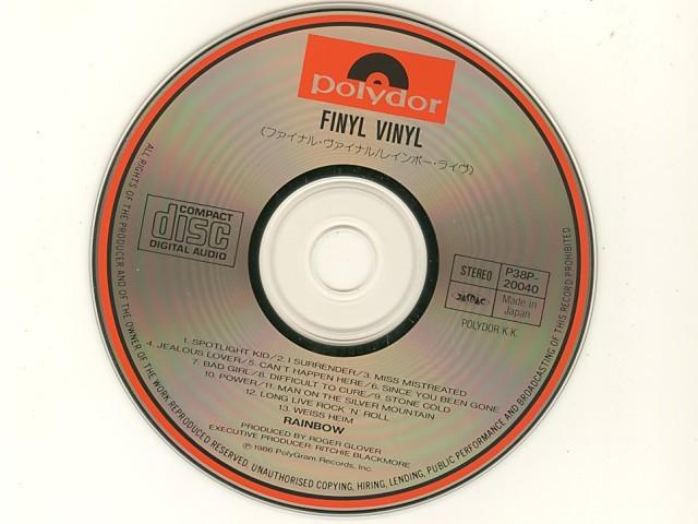 シール帯 Finyl Vinyl レインボー・ライヴ / Rainbow [Used CD] [P38P 20040] [w/obi] [管理No.0403093091014/91]_画像5