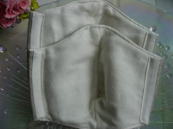 ハンドメイド立体マスク 大人用 大き目 2枚セット (生成り )_画像2