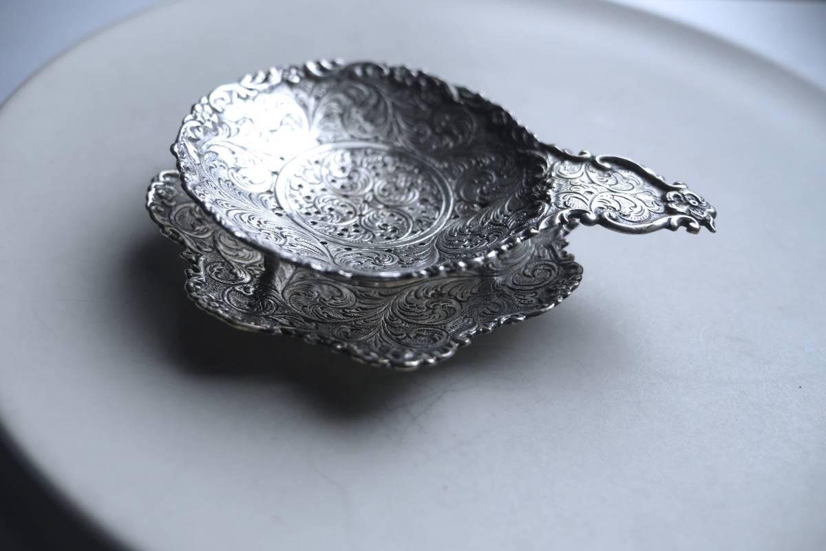 シルバー ティーストレーナー 茶こし 脚つき 受け皿つき シルバーp. アンティーク アールヌーボー_画像1