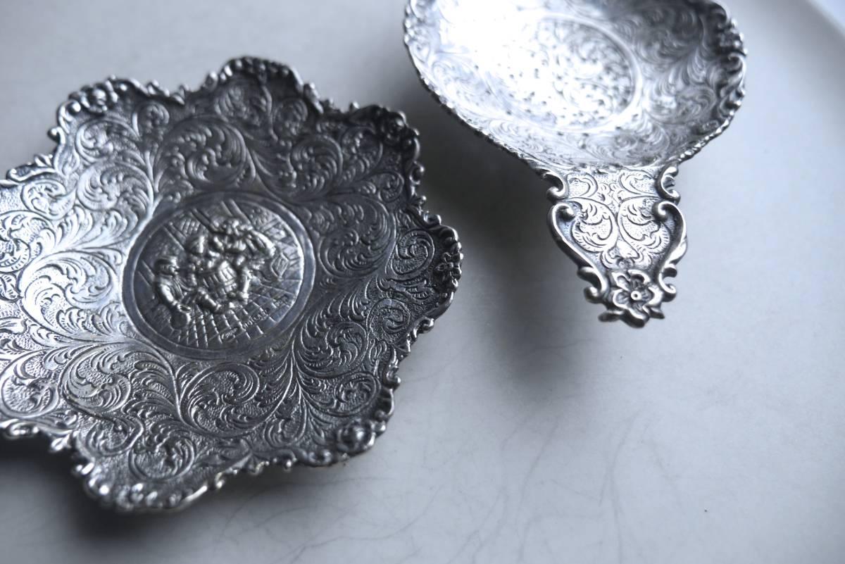 シルバー ティーストレーナー 茶こし 脚つき 受け皿つき シルバーp. アンティーク アールヌーボー_画像4