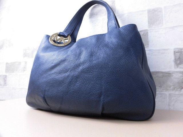 極美品(新品同様)■マイケルコース MICHAELKORS■ハンド バッグ A4可 レザー ネイビー 優秀鞄 ag9253_画像2
