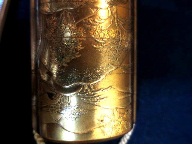 :【古都京都】「金蒔絵印籠B-293」漆器・陶器.蒔絵.印籠 薬籠 金蒔絵 内梨地 〝器〟_画像5