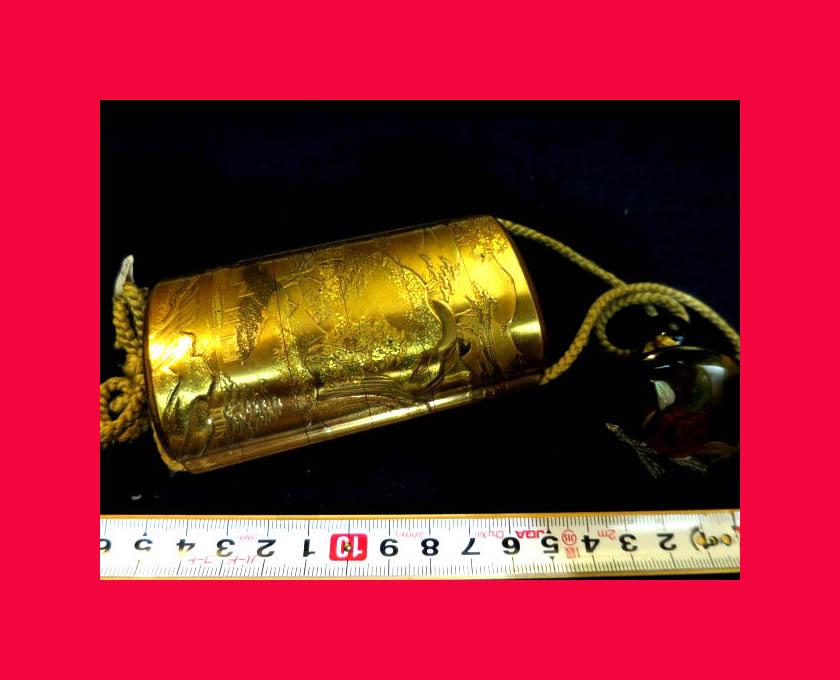 :【古都京都】「金蒔絵印籠B-293」漆器・陶器.蒔絵.印籠 薬籠 金蒔絵 内梨地 〝器〟_最高のお品です。