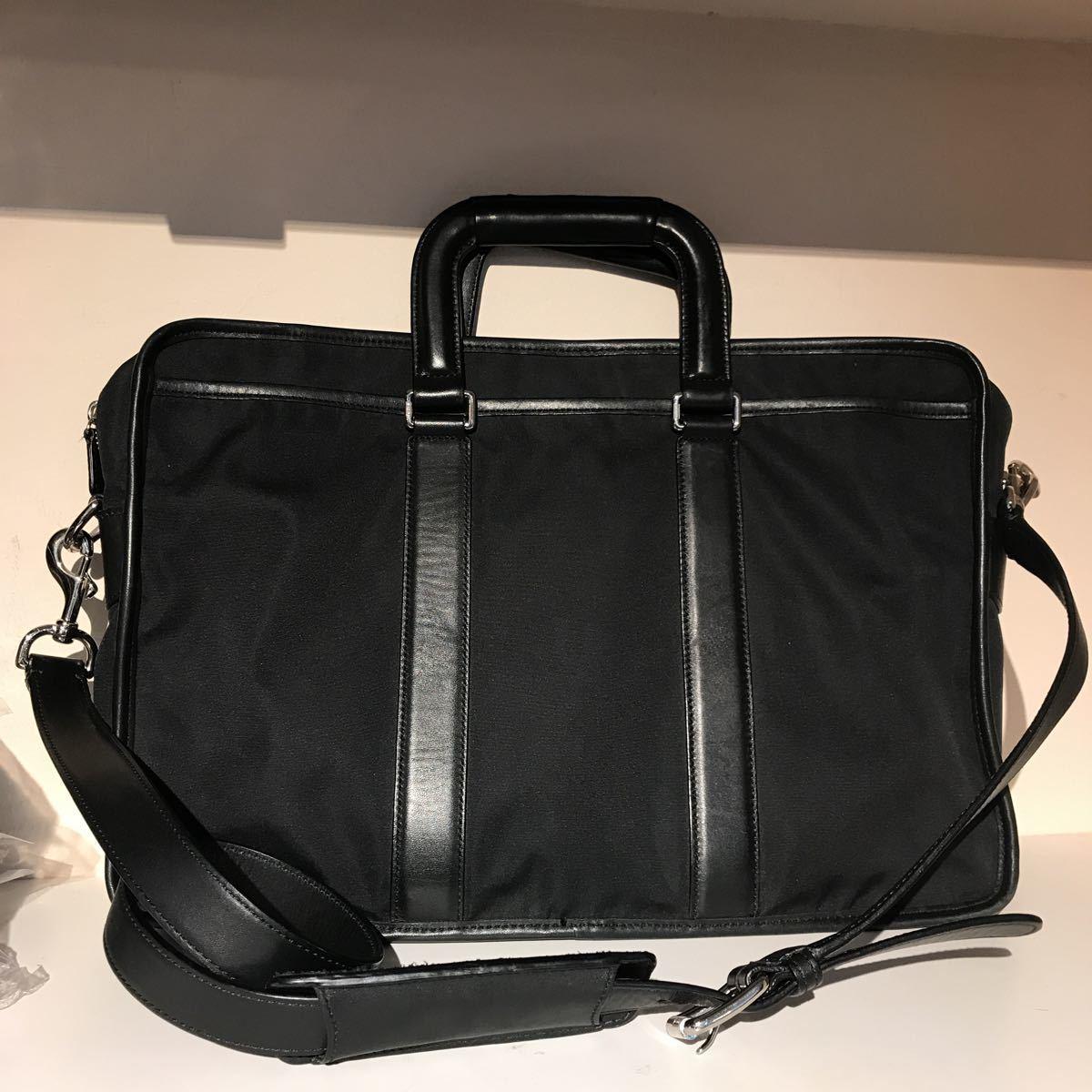 f58d667d7415 1円 COACH コーチ ショルダーバッグ ブリーフケース ビジネスバッグ 黒 ブラック レザー