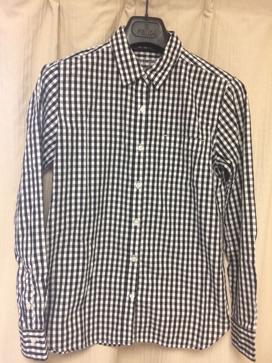 送料込み 美品 サイズ 無印良品 長袖シャツ 黒白チェック 綿 コットン ギンガム MUJI
