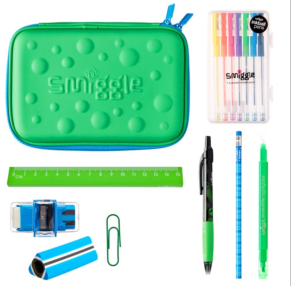 smiggle スミグル 筆箱と文房具 ギフトセットB Bubble Hardtop Crazy Gift Pack (Green) 新品 送料込み メイクケース ポーチ コスメケース_画像1